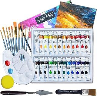 Topsics Set de Peinture Acrylique, 24 Tubes Peinture Non Toxique pour Débutant Artiste Enfant, comprenant pinceau, palette...