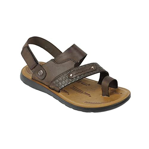 a0ab0acd69d Mens Real Leather Sandals Black Brown Roman Walking Slippers Adjustable  Back Strap