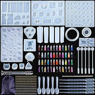MOOING Kit de Moules et Outils de Coulée de Résine,Moule de Bricolage de Silicone,Silicone Moule pour Bijoux en Époxy Rési...