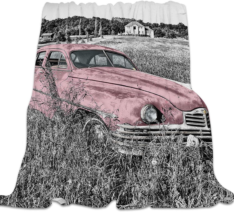 YEHO Art Gallery Flannel Fleece Bed Blanket Soft ThrowBlankets for Kids Adult,Vintage Pink Car Pattern,Comfort Blankets for Sofa Couch Bedroom Living Room Decor,49x59inch