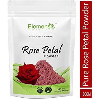 Elemensis Naturals Pure & Natural Double Filtered Rose Petal Powder For Skin, Face Pack Mask for Fairness, Tanning & Glowing Skin, 100gm