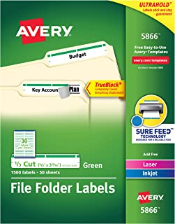 Avery Green File Folder Labels for Laser and Inkjet Printers with TrueBlock Technology, 2/3 inches x 3-7/16 inches, Box of 1500 (5866)