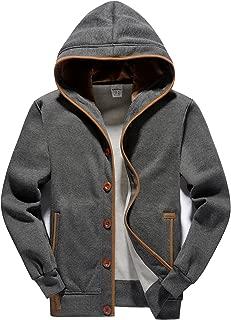 Men's Fleece Hoodie Button-up Jacket Hooded Sweatshirt