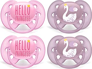 Philips AVENT Ultra Soft Pacifier, 6-18 Months, Hello Princess & Swan Designs, 4 Pack, SCF223/42, Pink