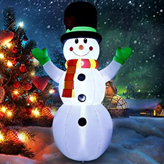 Albrillo Christmas Inflatable Snowman 7Ft Upgraded Christmas Snowman with Lighted Indoor Outdoor Yard Lawn Party Xmas Decorations 5 Stake and 3 Tether