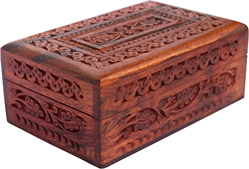 ITOS365 Handmade Wooden Jewellery Box for Women Wood Jewel Organizer Hand Carved with Intricate Carvings Gift Items -...