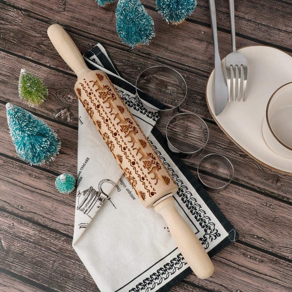 Rodillo de madera de Navidad dise/ño de copo de nieve de alce con grabado en 3D grabado 3 cortadores de galletas LOCOLO herramienta de cocina para hornear pasteles y galletas
