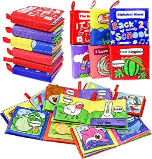 AKILION Soft Cloth Book, Educational Toys for Boys & Girls, Bath Toys, Touch and Feel Crinkle Books, Gift Set for Kids, 6PCS