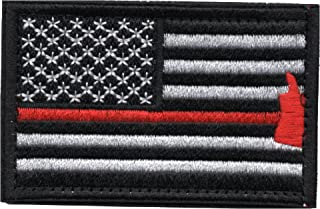 Tactical American Flag Patch Thin Red Line Firefighter Axe Embroidered Military Uniform Emblem with Hook and Loop