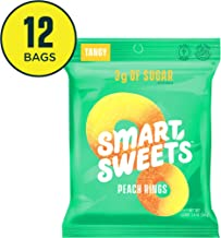 SmartSweets Peach Rings 1.8 Oz Bags (Box Of 12), Candy With Low-Sugar (3g) & Low..