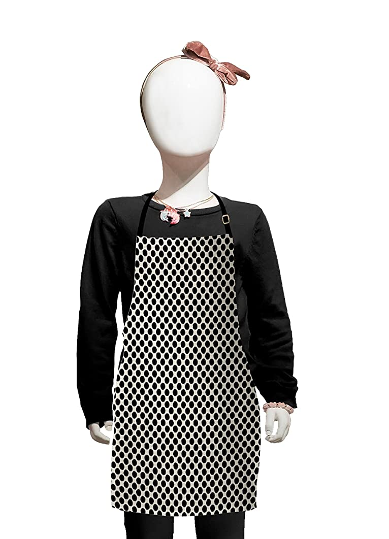 Lunarable Ivory and Black Kids Apron, Ethnic Dotted Pattern with Grunge Effect Background Hand Drawn Circles, Boys Girls Apron Bib with Adjustable Ties for Cooking Baking and Painting, Ivory and Black
