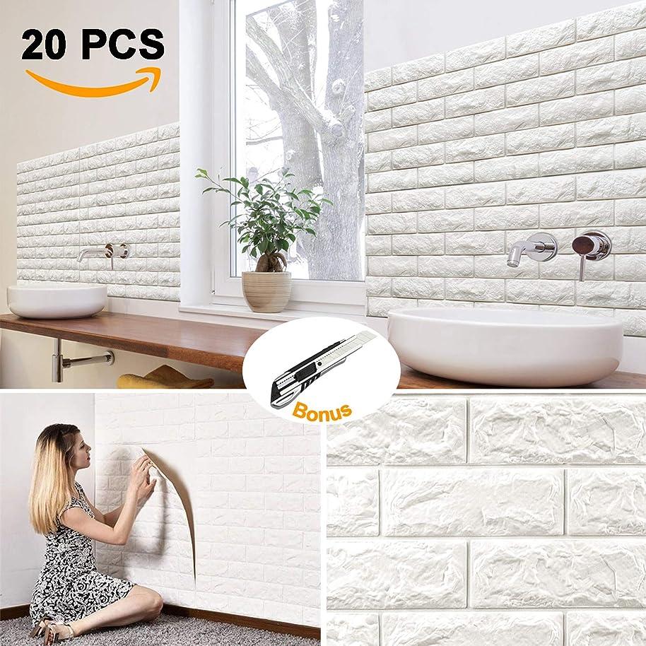 20Pcs Brick Wall Panels Peel and Stick Self-Adhesive 3D Foam Stone Textured White Faux Wallpaper Tiles for Living- Bedroom TV Background Home Decor DIY – 116.26 sq.Feet & Premium 1pcs Utility Knife