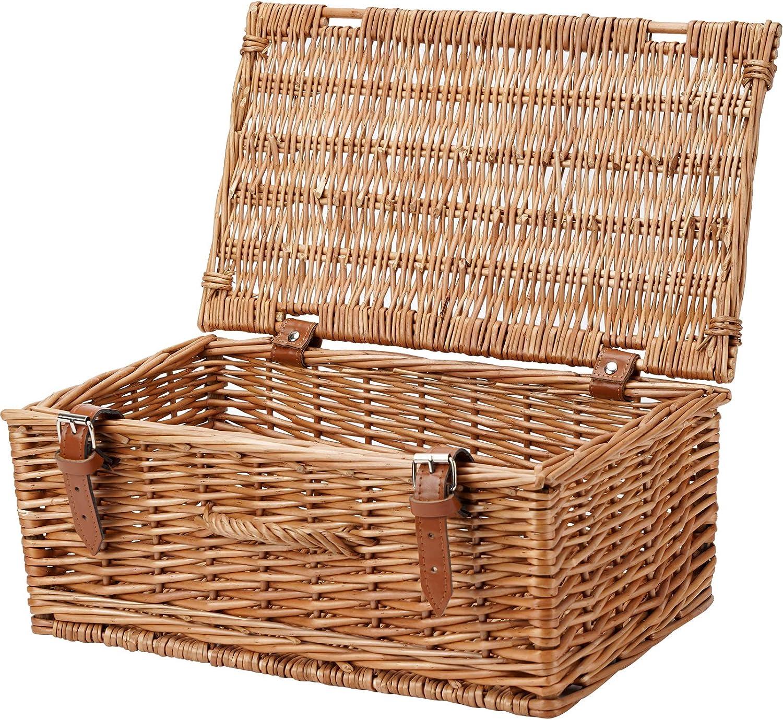HappyPicnic Cesta de mimbre vacía de 40,64 cm, cesta de almacenamiento, cesta de regalo, color miel
