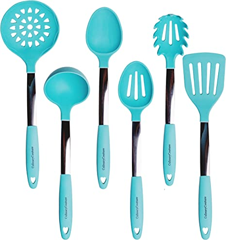 Amazon Com Turquoise Kitchen Utensil Set Stainless Steel Silicone Heat Resistant Professional Cooking Tools Spatula Mixing Slotted Spoon Ladle Pasta Fork Server Drainer Bonus Ebook Home Kitchen