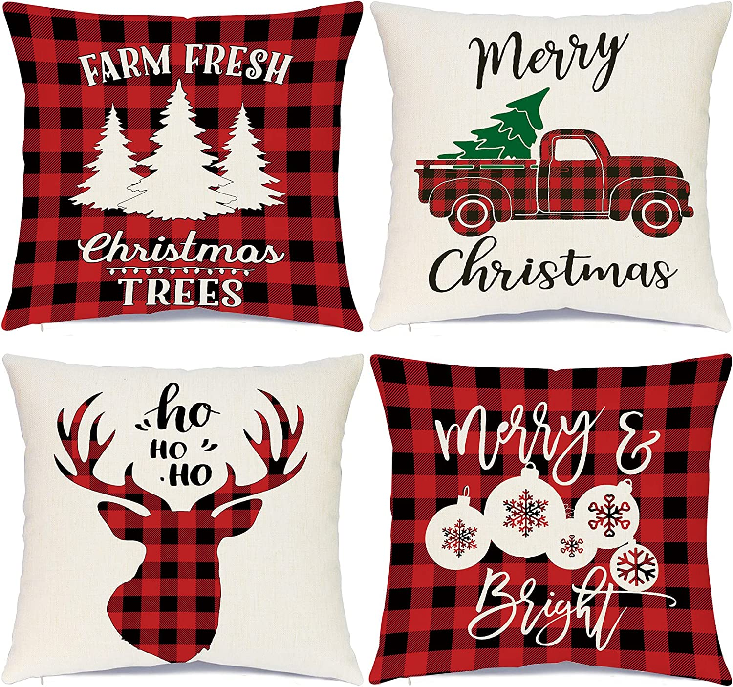 Ueerdand Christmas Decorations Pillow Covers 18 x 18 Inch Set of 4 Black and Red Farmhouse Buffalo Plaid Pillow Covers Rustic Linen Pillow Case for Sofa Couch Holiday Christmas Decor Winter