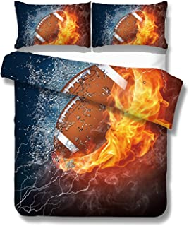 SxinHome 3D Rugby Bedding American Football Bedding Set for Teen Boys, Duvet Cover Set,3pcs 1 Duvet Cover 2 Pillowcase(no Comforter Inside) (American Football, Queen)