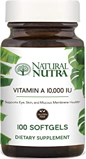Natural Nutra Vitamin A Dietary Supplement from Cod Liver Oil, 10,000 IU, 100 Softgels