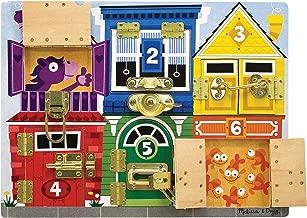 Melissa & Doug Wooden Latches Board (Developmental Toy, Sturdy Wooden Construction, Helps Develop Fine Motor Skills, 39.37 cm H x 29.21 cm W x 3.175 cm L)
