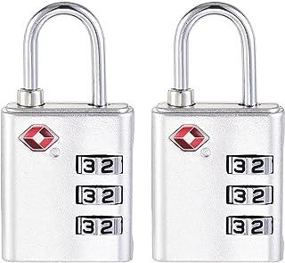 uxcell TSA Approved Luggage Lock 3 Digit Combination Travel Padlock Zinc Alloy Silver Tone 64x32x13mm 2Pcs