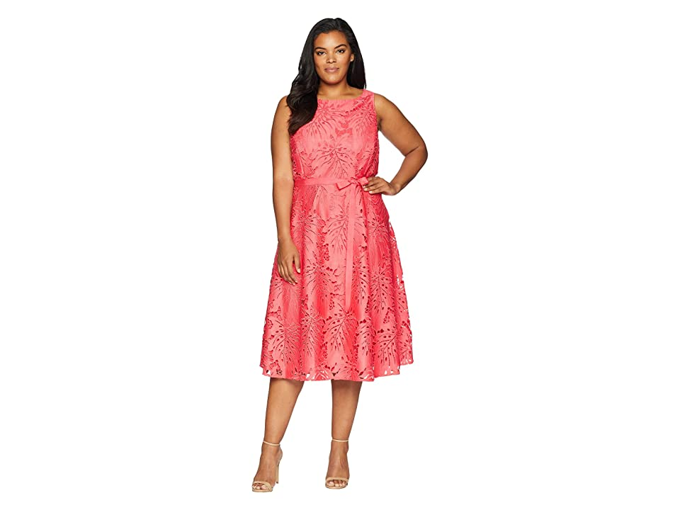 Tahari by ASL Plus Size Sleeveless Chemical Lace Fit and Flare Midi (Watermelon) Women