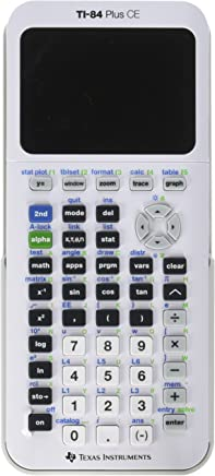 $143 » Texas Instruments TI-84 Plus CE Graphing Calculator, White