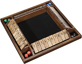 WE Games 4-Player Shut The Box - Wooden Board Game with Dice for The Classroom, Home or Pub - 14 in.