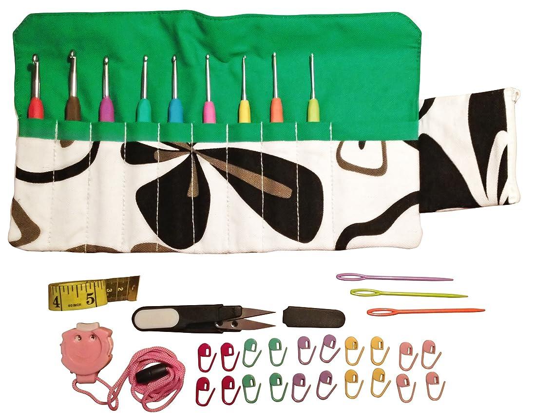Sparkling Pumpkin 36pcs Crochet Set - Ergonomic Crochet Hook Set with Multiple Accessories – Green Floral Hook Case, Yarn Needles, Stitch Markers, Measuring Tape, Yarn Snips & More!