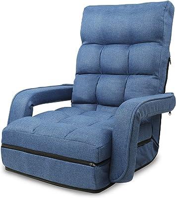 WLIVE 座椅子 ひじ掛け付き 肘掛け連動 42段階 リクライニング 4WAY折り畳み 脚置き ハイバック 一人掛け ふあふあ フロアチェア 静電気防止 幅50cm ブルー MF0043A