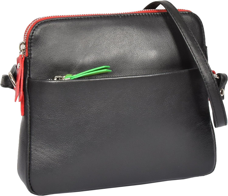 Ladies Soft Leather Small Cross Body Organiser Shoulder Travel Sling Bag Ellie Black
