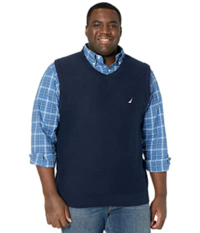 Nautica Big & Tall Big Tall Sweater V-Neck Vest (Navy) Men