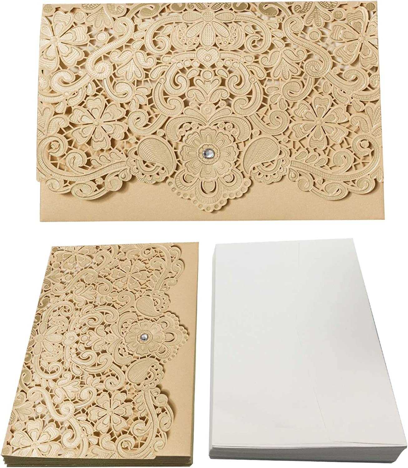 50PCS Paper Laser Cut Bronzing Wedding Baby Shower Invitation Cards with Butterfly Hollow Favors Invitation Cardstock for Engagement Birthday Graduation (YC042)