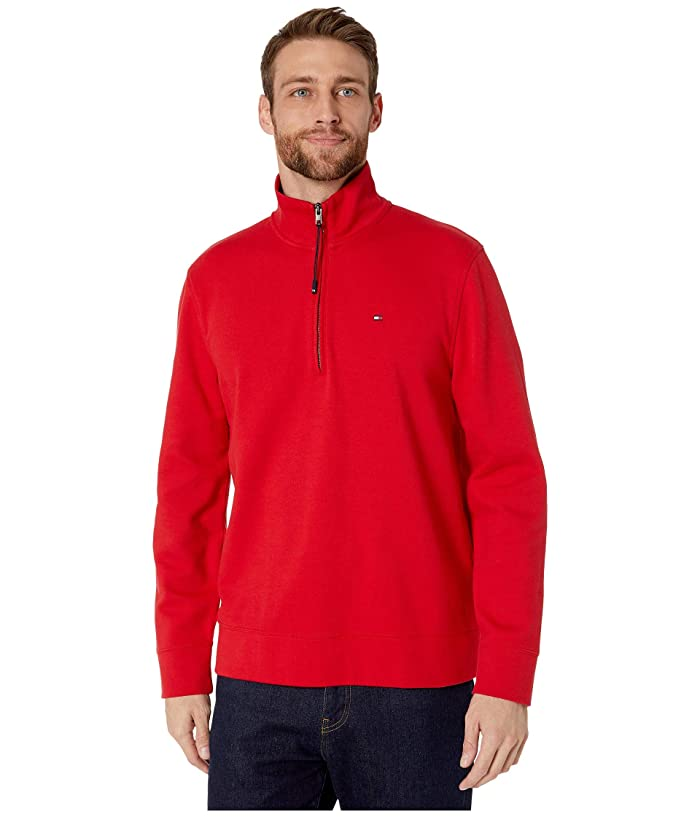 Tommy Hilfiger Adaptive  Mock Neck with Extended Half Zipper Pull (Haute Red) Mens Clothing