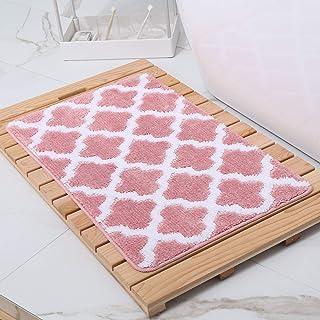 Seloom Super Absorbent Soft Bath Rug, Pink and White, 16 * 24