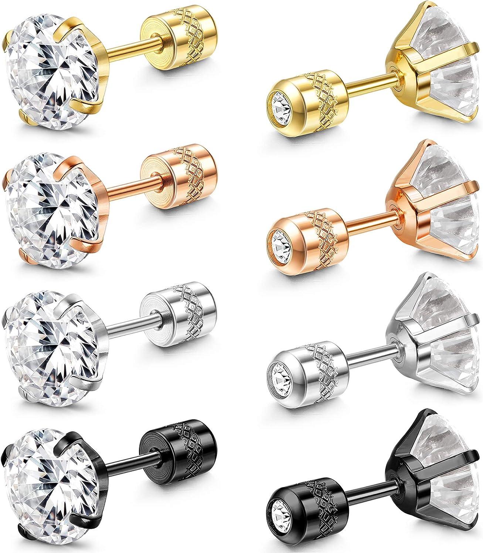 Popular standard FIBO STEEL Stainless wholesale Steel Double Sided Stud CZ Men for Earrings