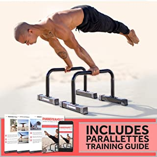 Rubberbanditz Parallettes Push Up & Dip Bars | Heavy Duty, Non-Slip Parallete Stand for Crossfit, Gymnastics, Bodyweight Training Workouts