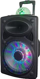 "Impex - TS -81 Portable Bluetooth Speaker, LED Lights, 12"" Woofer, 1.5"" Tweeter, Trolley & Wheels, USB SD Card AUX FM Inpu..."