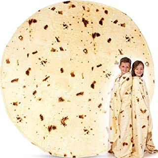 AUMA 1.8 m Burritos Tortilla Blanket, 71 inches Double Sided Blanket for Adult and Kids, Funny Soft Flannel Tacos Blanket,...