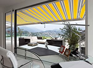 ADVANING 16'x10' Manual Patio Retractable Awning | Luxury Series | Premium Quality, 100% Solution-Dyed European Acrylic UV Sun Shade, Color: Sunny Yellow Stripes, MA1610-A423H2