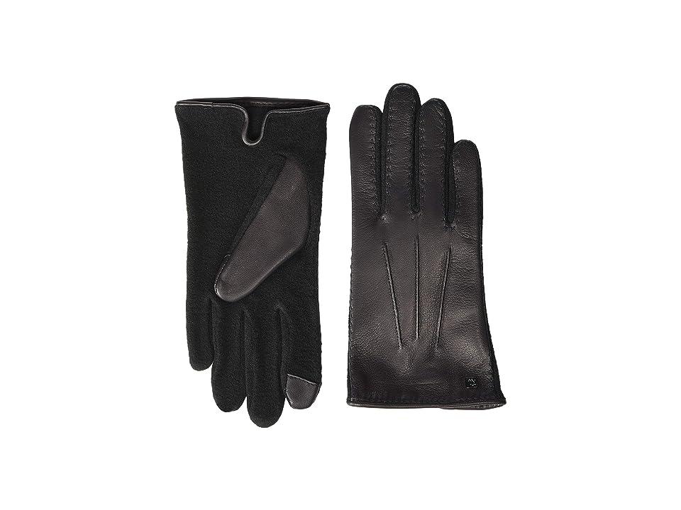 LAUREN Ralph Lauren Stitched Hybrid Touch Gloves (Black) Wool Gloves