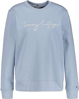 Tommy Hilfiger Regular Graphic C-NK Sweatshirt Maillot de survêtement, Blue, L Femme