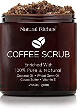 Natural Riches Arabica Coffee Body & Face Scrub, 100% Natural with Coconut and Cocoa butter. Body Scrub for Skin Care, Stretch Marks, Acne, Cellulite, Spider Veins, Eczema, Varicose Veins & Age Spots