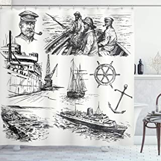 Ambesonne Nautical Decor Collection, Fisherman Captain Seaman Sailboat Old Historic Sketch Monochromatic Artwork Print, Polyester Fabric Bathroom Shower Curtain Set with Hooks, Black and White