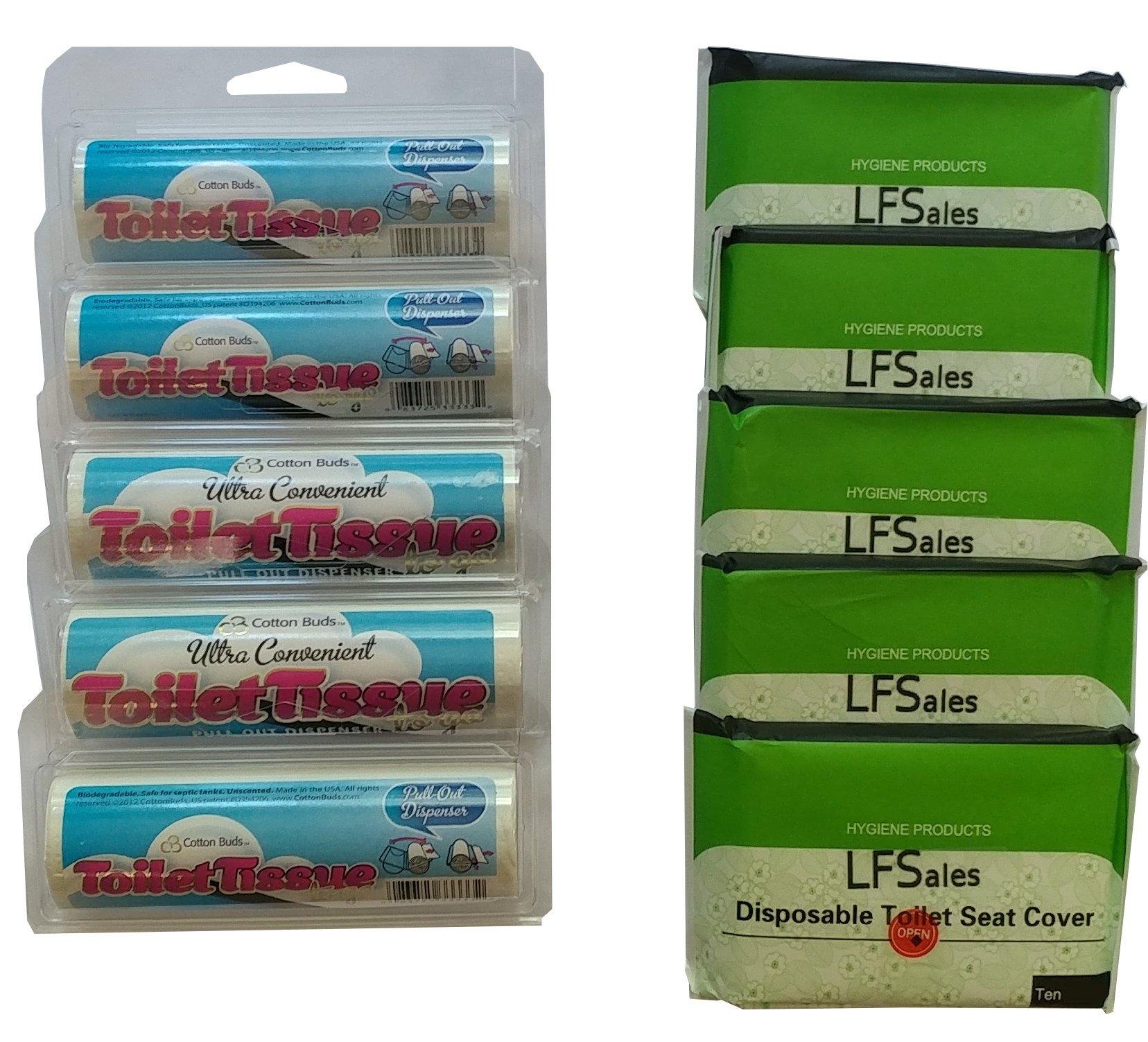 Viaje cubiertas para tapa de inodoro (50 unidades) y papel ...