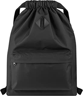 Drawstring Backpack Water Resistant String Bag Sports Gym Sack with Side Pocket for Men Women