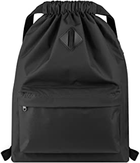 Drawstring Backpack Water Resistant String Bag Sports Gym Sack with Side Pocket for Men Women