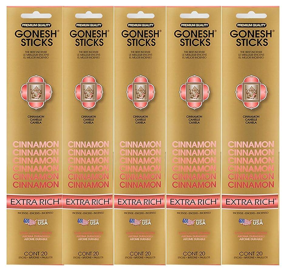 使用法方向料理Gonesh Incense Sticks Extra Richコレクション?–?シナモン5パック(合計100?)