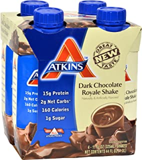 4 Pack of Atkins Advantage RTD Shake Dark Chocolate Royale - 11 fl oz Each / Pack of 4 - - -