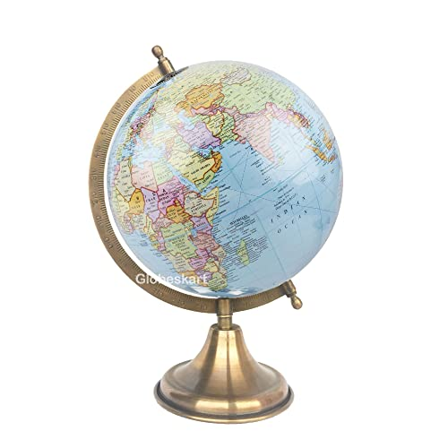Globeskart Educational/Antique Globe with Brass Antique Arc and Base / World Globe / Home Decor / Office Decor / Gift Item / 8 inches (Surahi) (Sky Blue Laminated)