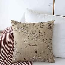 Pillow Case Language Ancient Old Map Caribbean Sea Vintage Nautical World Compass Medieval Antique Fantasy Farmhouse Throw Pillows Covers 18