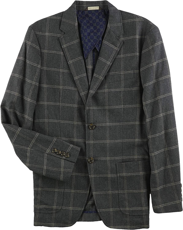 Tasso Elba Mens Windowpane Two Button Blazer Jacket